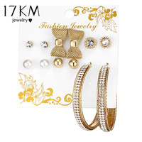 17KM Bow Knot Simulated Pearl Crystal Stud Earrings For Woman Round Big Circle Earring 6 Pairs/Set Mix Ear Stud Fashion Jewelry