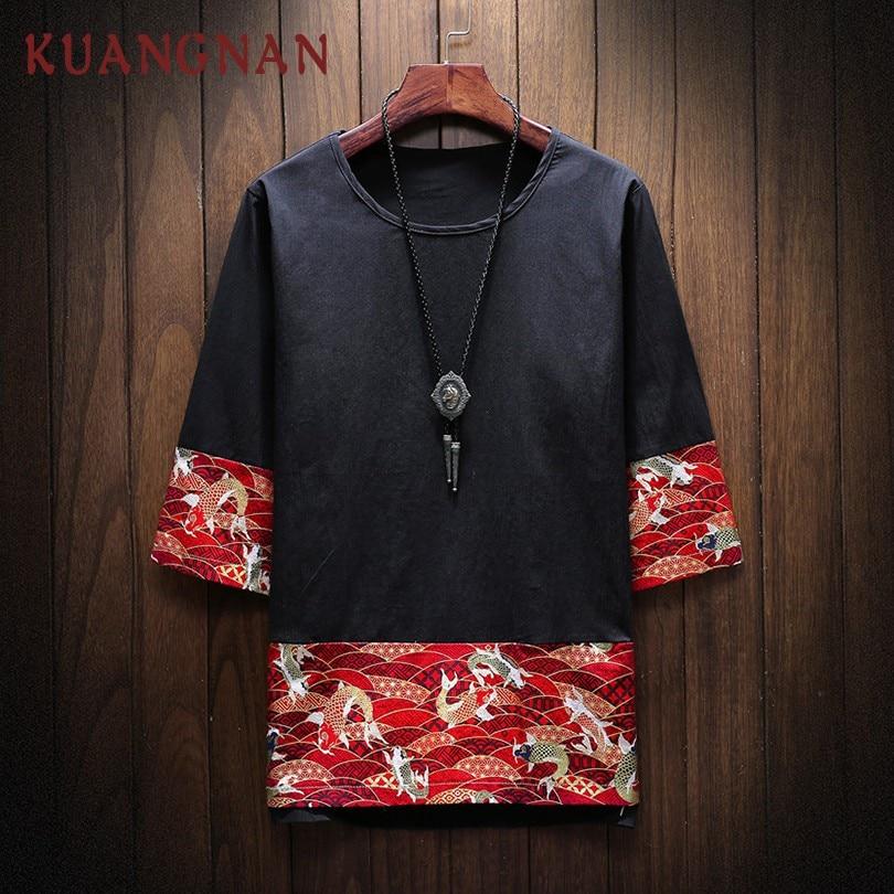 KUANGNAN Red Carp Printed T Shirt Men Fashions Harajuku Streetwear Funny Tshirt Men T Shirt Hip Hop T-Shirt Men 5XL Summer 2019