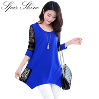 2017 Women Shirt For Work And Casual Lace Patchwork Blouses O Neck Plus Size 5XL Blusas