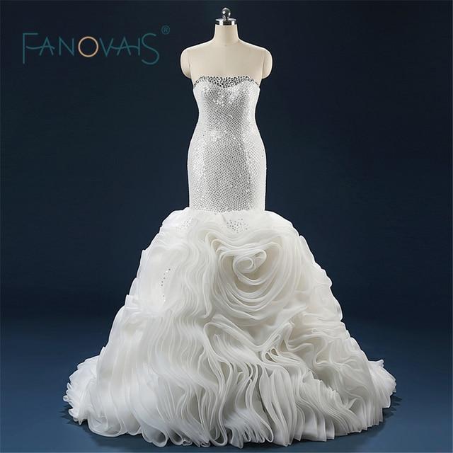 Charming Ruffles Organza Mermaid Wedding Dresses 2016 Strapless ...