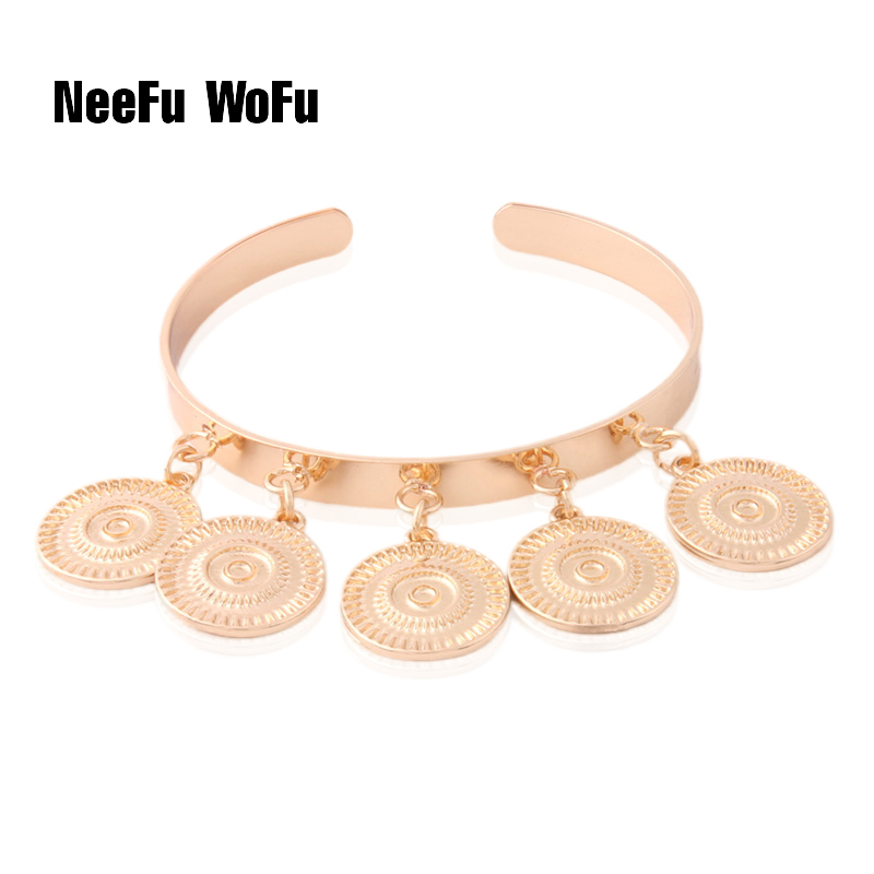 NeeFuWoFu starfish Bracelets Copper coral Round coin Open Gradient National shell Freshwater Pearls Bracelet Jewelry wholesale