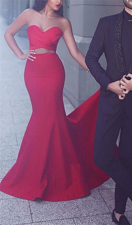 JaneVini vestido de fiesta de sirena rojo árabe 2018 escote corazón largo vestidos de dama de honor Sexy Dubai botón señora Formal vestido - 2