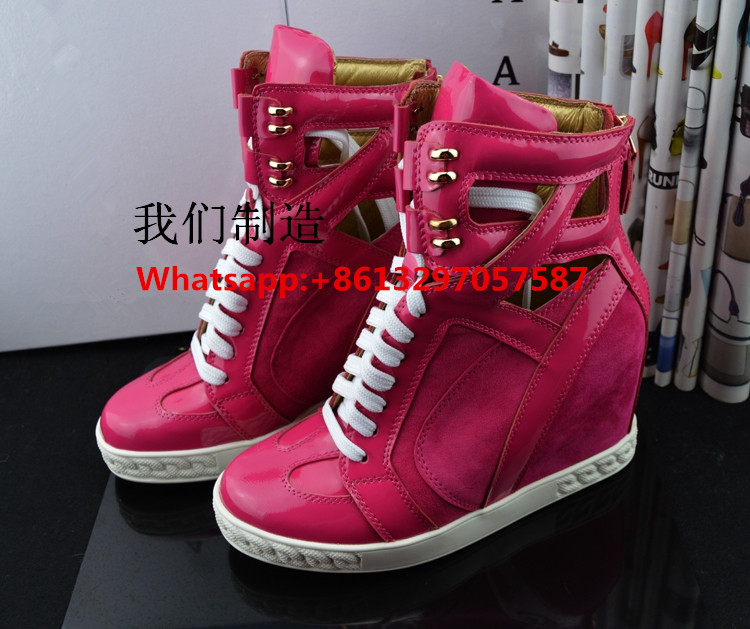 Zobairou Design Women High-top Casual Shoes Suede Height Increasing Ankle Boots Lace Up Cut Outs Basket Hidden Wedges Shoes new arrival women high top lace up denim casual shoes handmade sewing big rhinestone canvas ankle boots height increasing shoes