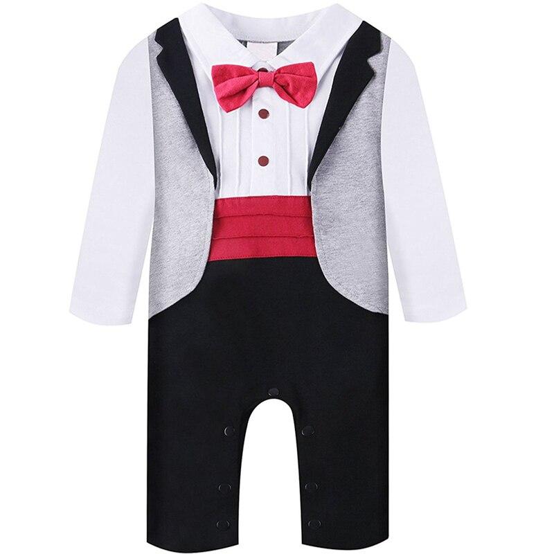 44bc607e38b8 US Seller Newborn Baby Boys Tuxedo Formal Romper Jumpsuits Bodysuits  Playsuits Boys  Clothing (Newborn-5T)