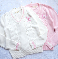 Kawaii Cute Piggy Embroidery Sweater Japanese Korea Preppy Style School JK Uniform Women's V Neck Long Sleeve Knitted Sweater