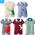 Macacão de bebê recém-nascido do bebê verão meninos roupas bonito dos desenhos animados do bebê meninos meninas macacão de manga curta polo macacão de bebê meninas roupas