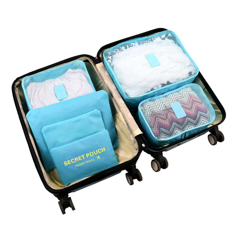 6Pcs/set Packing Cube Portable Large Capacity Travel Bags Clothing Sorting Organizer Luggage Accessories Supplies Products