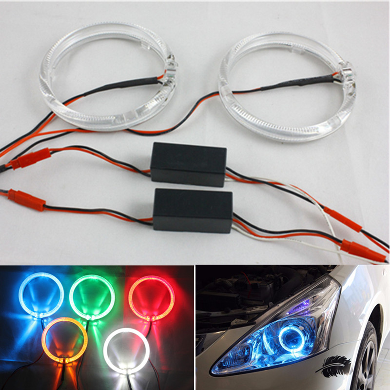 FSYLX 80mm 100mm Guide light LED Halo Ring DRL Headlight Motorcycle auto Car white yellow blue SMD LED Angel Eyes halo rings 2pcs lot high bright 360 degree smd demon led halo rings devil eye for all car projector headlight color white red blue yellow