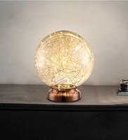 Phube Lighting LED Table Lamp Amber/Smoky Glass Bedside Light Firework Modern Desk Lamp Lights Free Shipping