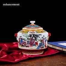Antique European Style Jar Royal Ceramic Enamel Canister Porcelain Caddy Pastel Home Decoration Jingdezhen Container With Lid