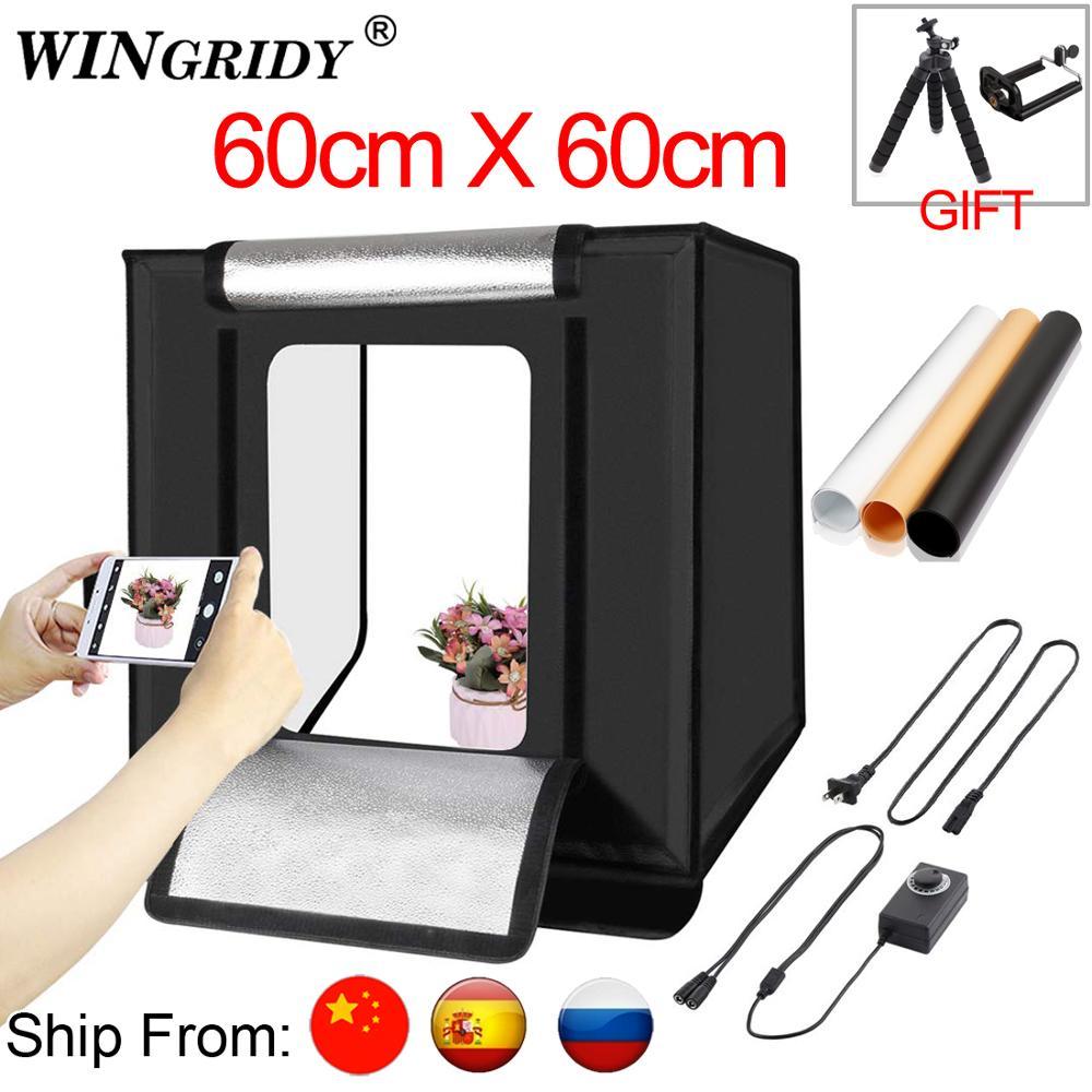 WINGRIDY 60cm LED Folding Photo Studio Softbox Lightbox 60 60 light Tent W60 white yellow black