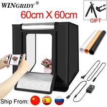 WINGRIDY 60cm LED Folding Photo Studio Softbox Lightbox 60*60 light Tent W60 white yellow black background Accessories box