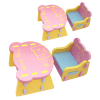 Children Chair And Table EVA Kids Safe Desk Anticollision Cozy Chair Bear Pattern Multi Part Dismantling