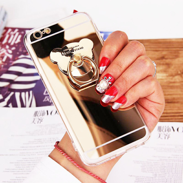 Phone Cases for iphone 7 8 plus 6 6s Luxury Cute Rose Gold Bear Holder Stand Soft TPU Mirror Cover Case for iphone X XS Max XR  3