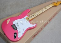 Custom ST electric guitar, pink, visiting the old,The body of theguitar is alder,free shipping
