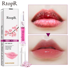 RtopR Cherry Blossom Lip Serum Balm Moisturizing Repair Lip Fine Lines Lip Essence  Mask Dry Crack Peeling Repair Lip Care 3ml