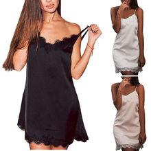 Ladies Sexy Silk Satin Night Dress Sleeveless Strappy V neck Nightgown Nightdress Lace Sleepwear Nightwear Homewear