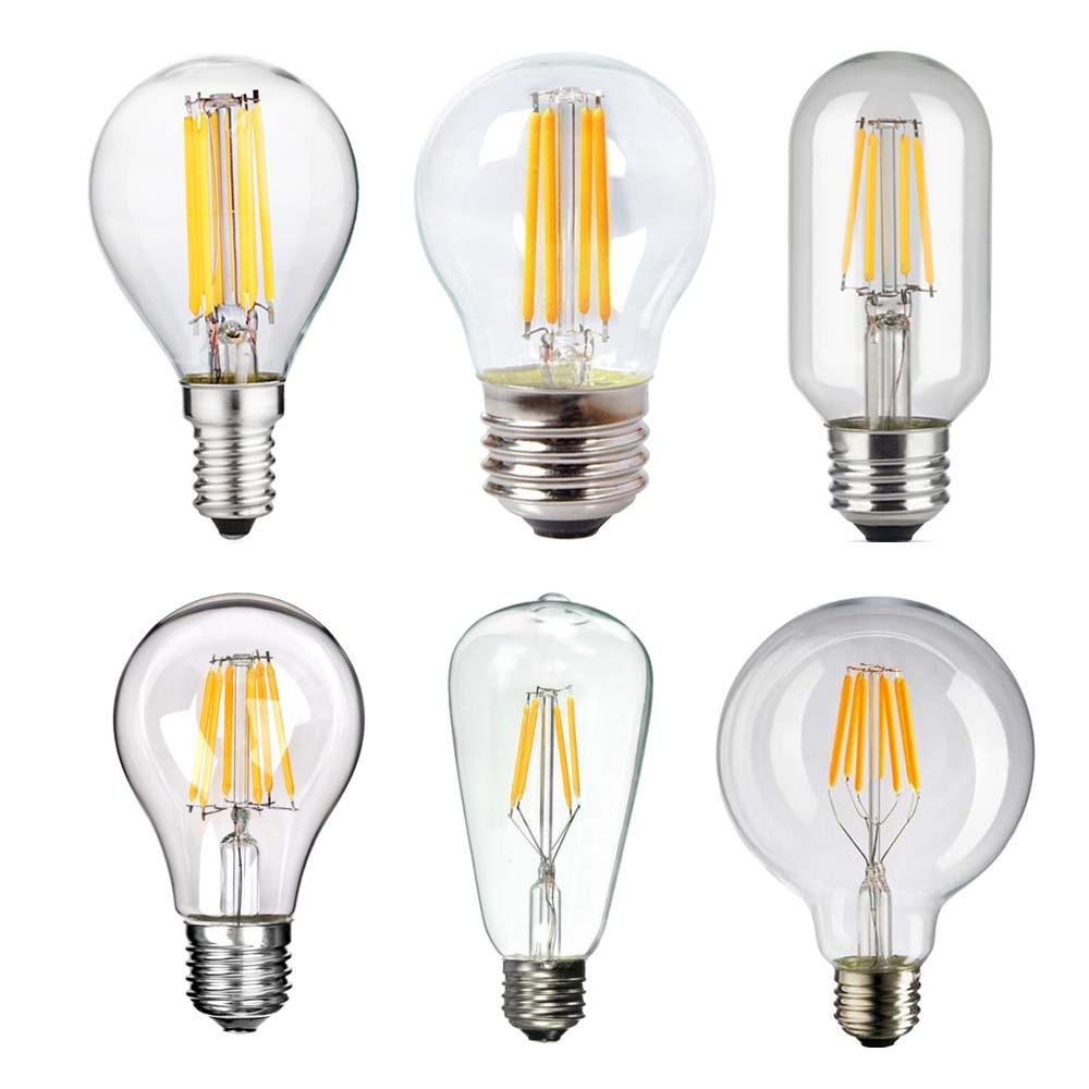 G45 A60 ST64 G80 T45 LED Filament Bulb AC85-265V 2W 4W 6W 8W Edison LED Lamp E27 E12 E14 Candelabra Light Bulb 1x new design led filament e14 bulb dmimable 2w 4w 6w ac 220v 230v lamp edison glass candle lights lighting for chandelier