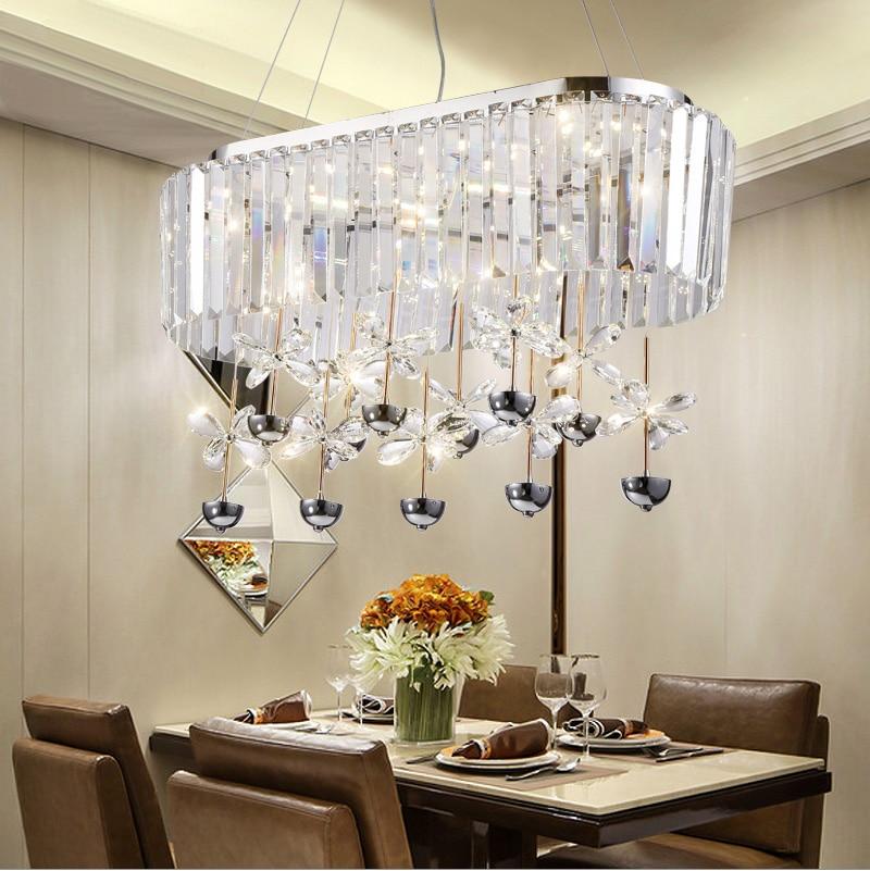 2017 new rectangular led contemporary chandelier living room lamp luxury crystal lights led light home lighting