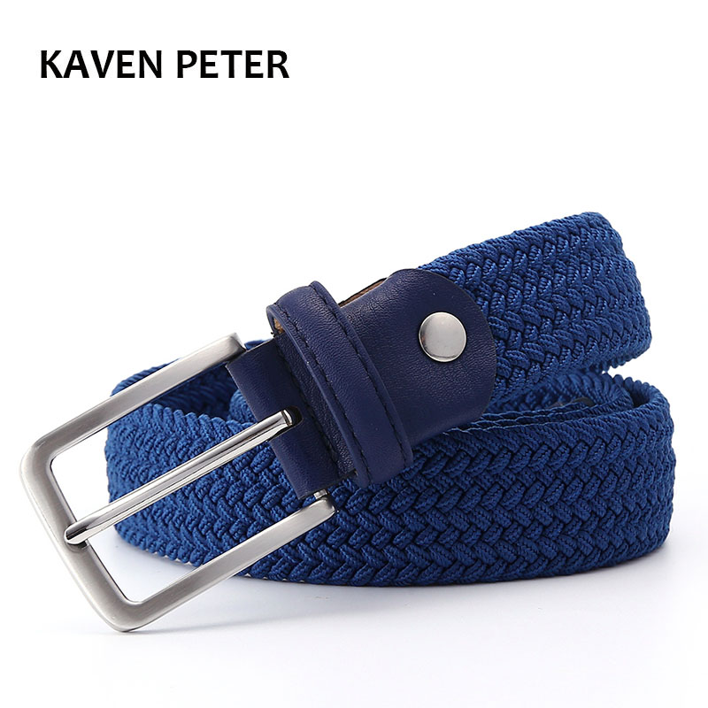 Men Blue Elastic Stretch Waist Belt Canvas Stretch Braided Elastic Woven Leather Belt 1-3/8
