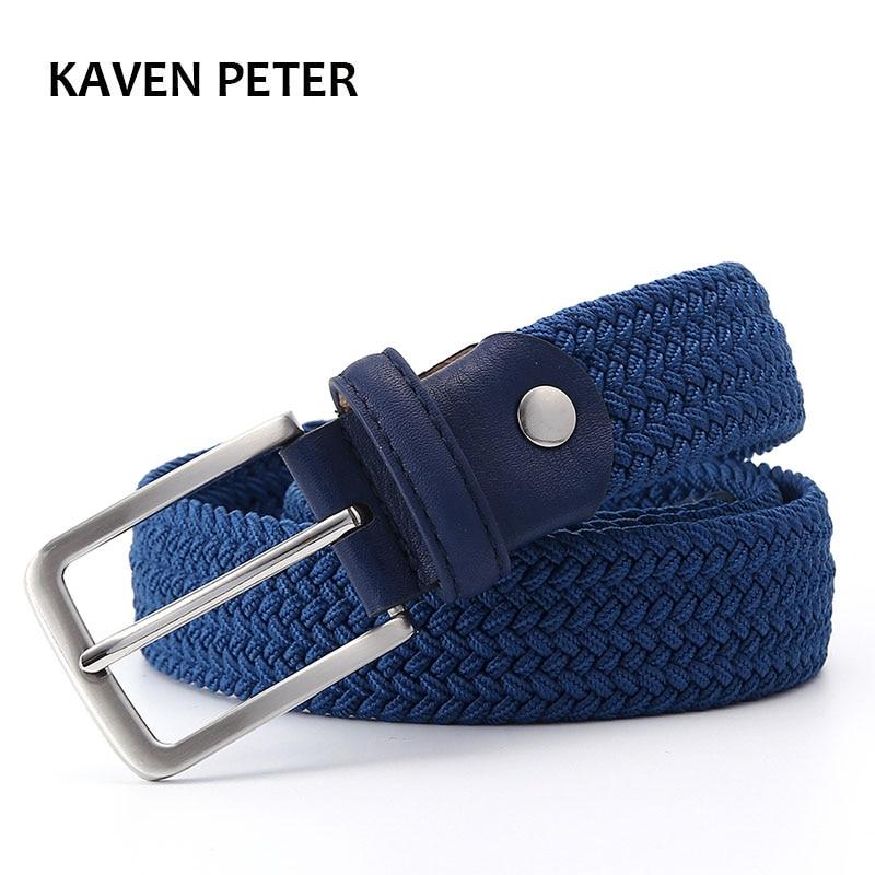 Men Blue Elastic Stretch Waist Belt Canvas Stretch Braided Elastic Woven Leather Belt 1-3/8