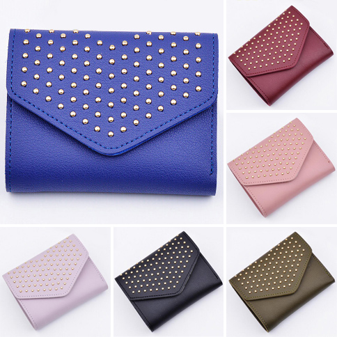 Fashion Short Women Wallets Hasp PU Leather Brand Design Lady Money Bags Clips Dots Purses Woman Wallet Cards Holder Burse Bag