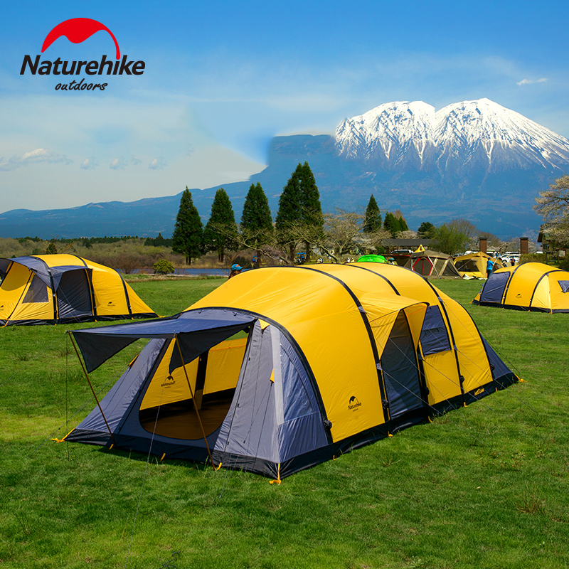 NatureHike Large Capacity 3-6 Person Tent Double Layer Inflatable 4 Season Camping Hiking Tent Outdoor Activities Group Tents naturehike 3 person camping tent 20d 210t fabric waterproof double layer one bedroom 3 season aluminum rod outdoor camp tent