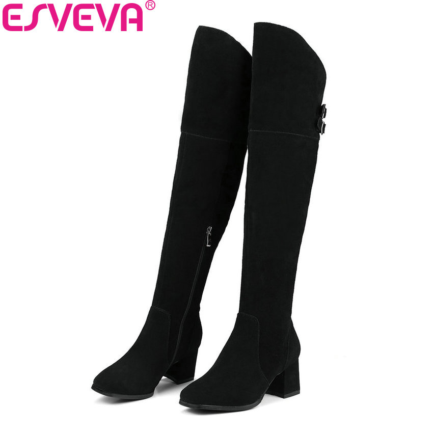 ESVEVA 2018 Women Boots Short Plush Black Square Toe Over The Knee Boots Ladies Shoes Square High Heels Long Boots Size 34-39 esveva 2018 women boots short plush pu lining elastic band pointed toe square high heels ankle boots ladies shoes size 34 39