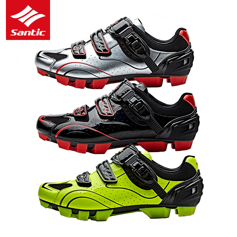 Santic PRO Cycling Shoes Men Mountain Bike Shoes PU Breathable Auto-lock Mountain Bicycle Shoes 3 Colors Zapatillas Ciclismo jad spo 108 bicycle breathable pu shoes silver size 42