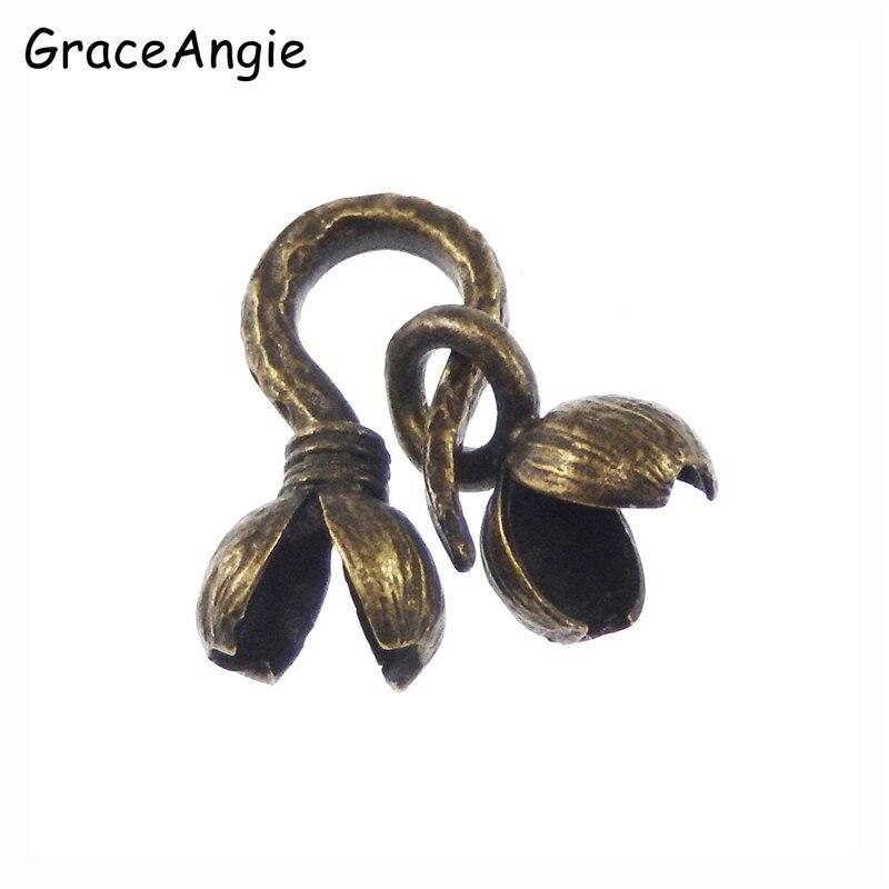 8 ensembles Nouvelle Conception Antique Bronze Tone Chaîne En Laiton de Boule Fermoir Deux Pièces (trou taille 2.5) bijoux Trouver collier fermoir 16*8,10*5 MM