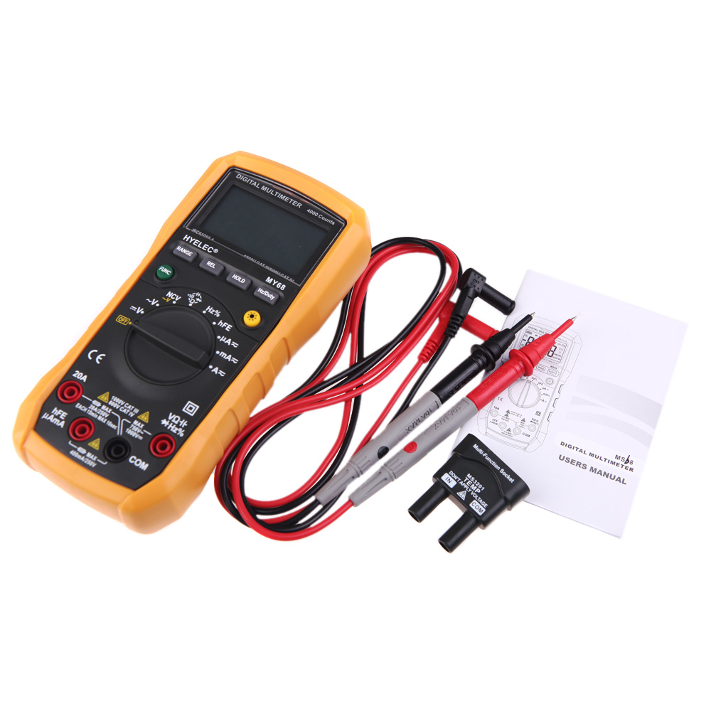 Professional Digital Multimeter 4000 Counts AC/DC Resistance Capacitance Frequency Duty Cycle Tester Multimeter my68 handheld auto range digital multimeter dmm w capacitance frequency