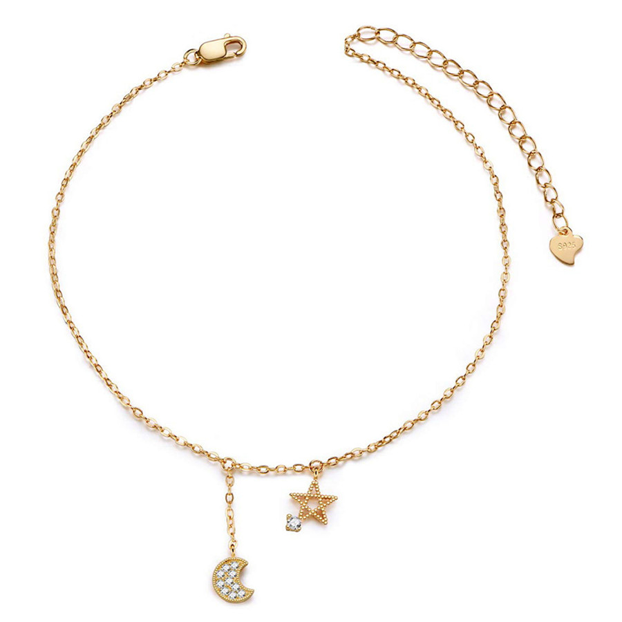 Chic Tiny Crystal Moon With Alloy Stars Chain Bracelet For Women Party Jewelry