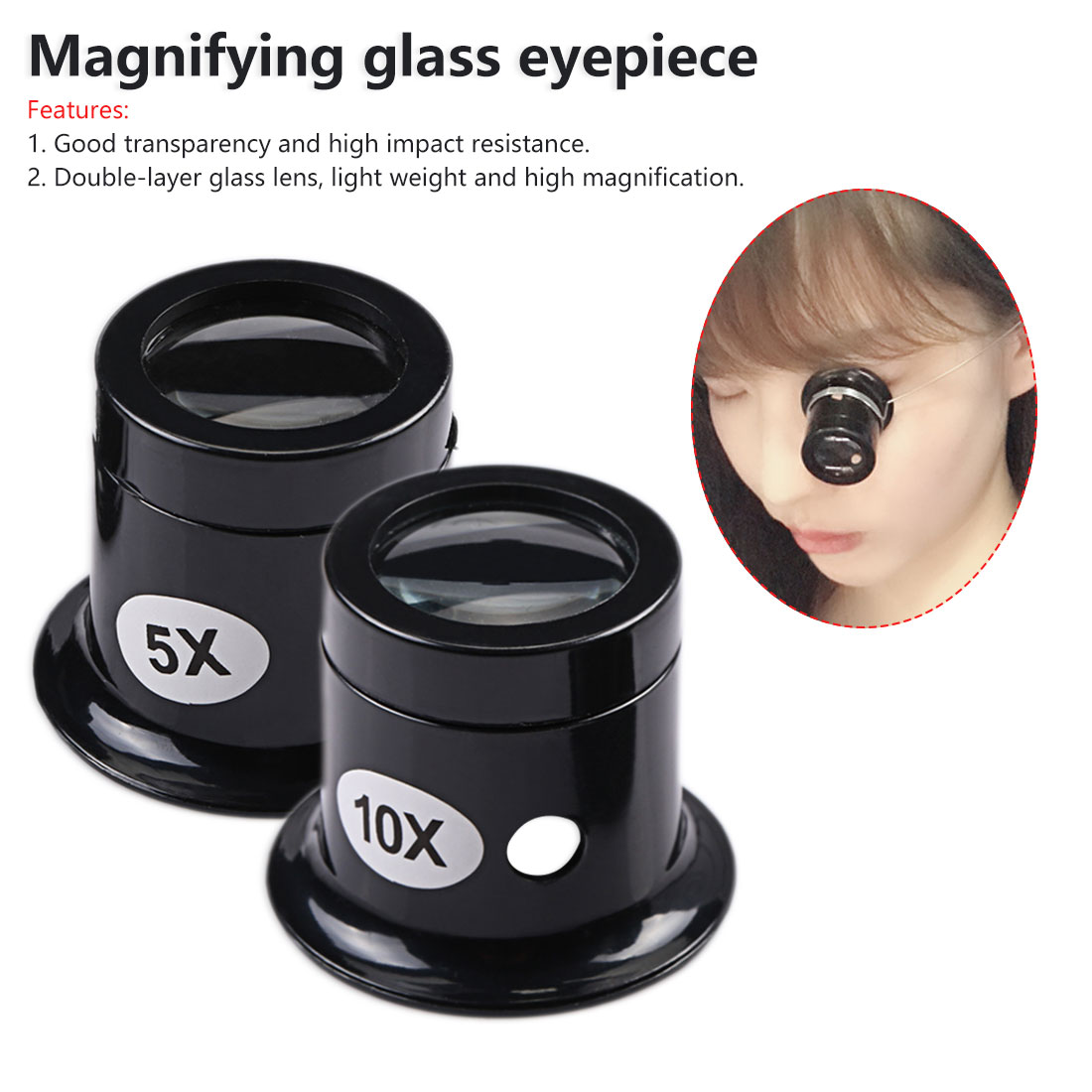 10X/5X Monocular Magnifying Glass Loupe Lens Portable Jeweler Watch Magnifier Tool Eye Magnifier Len Repair Kit