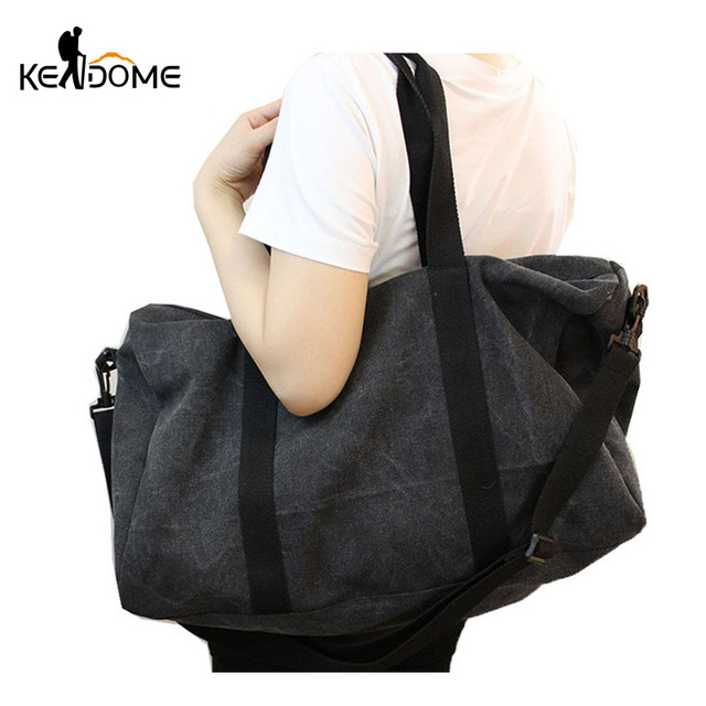 Vintage Solid Color Canvas Sports Gym Bag for Women Fitness Shoulder  Training Bags Tourist Duffle Bag Crossbody Bolsa XA516WD 34af49e9e2d