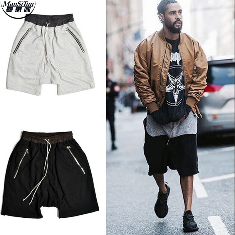 Man si Tun 2017 Latest South Korean HipHop Fashion File Zipper Cut-Off Loose KANYE West FEAR OF GOD Black Gray Shorts