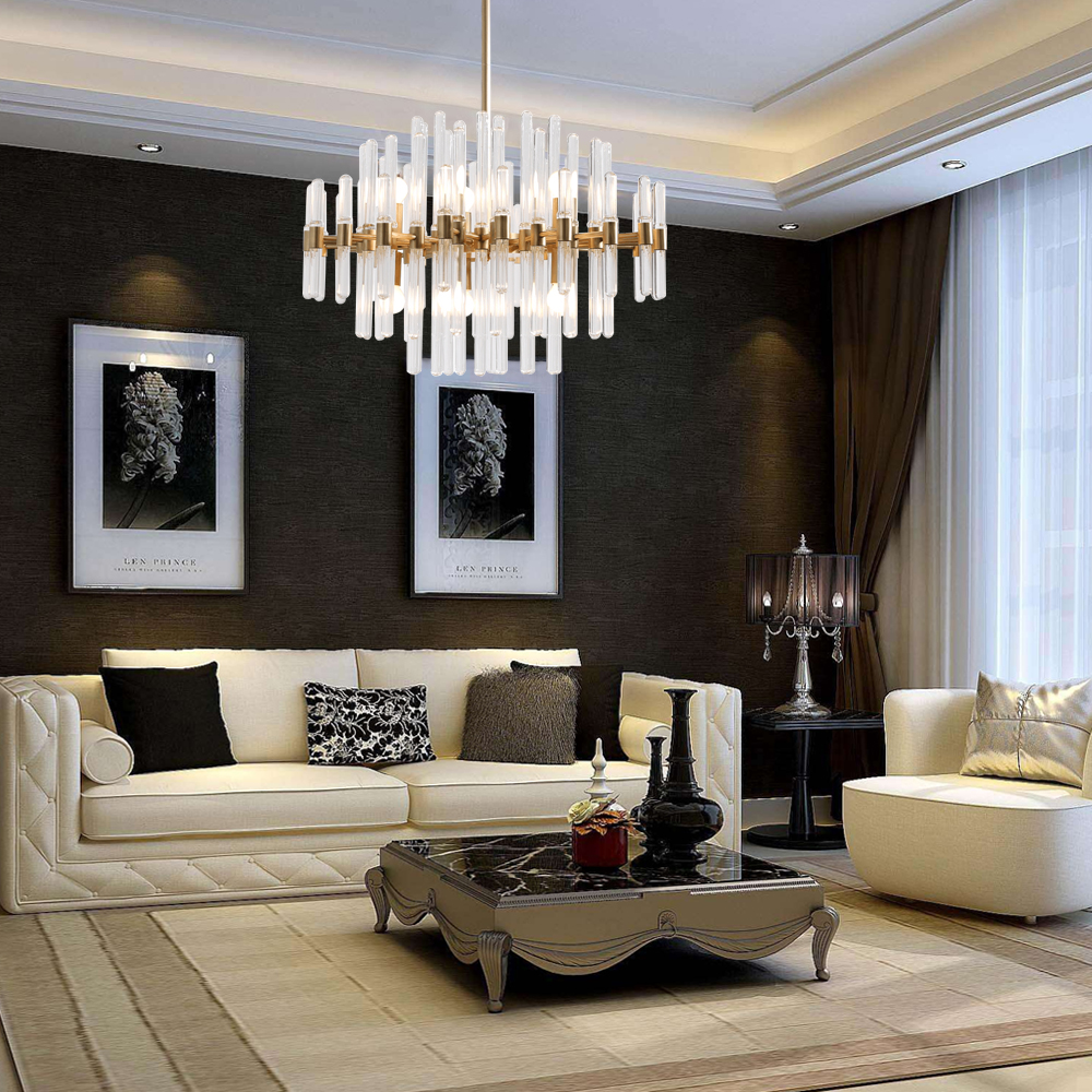 Gold Modern Glass Chandelier Lighing Living Dining Room LED 1