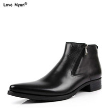 New cowhide boots Genuine Soft Leather Boots Pointed Toe Breathable Bullock Patterns Oxford Dress Shoes For Men Boots556