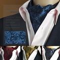 Homem vintage casamento formal cravat ascot scrunch auto laços cavalheiro poliéster lenços de seda pescoço gravata luxo paisley padrão