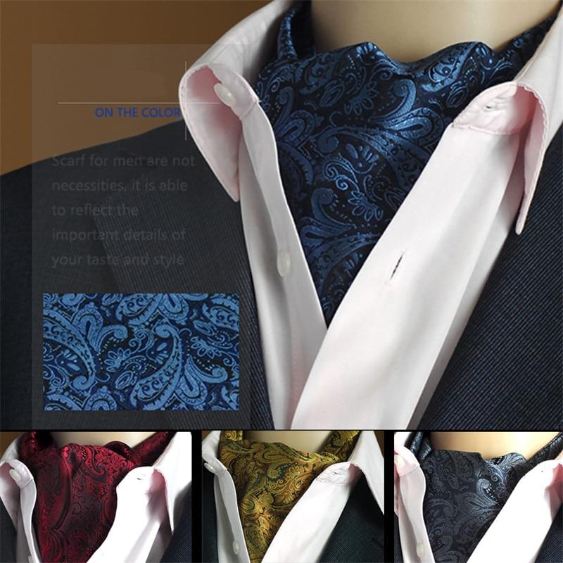 Men Vintage Wedding Formal Cravat Ascot Scrunch Self Ties Gentleman Polyester Silk Scarves Neck Tie Luxury Paisley Pattern