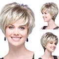 New Natural Straight Synthetic Fluffy Slightly Women Wigs Short Hair Wig Girl Gift Silver HB88