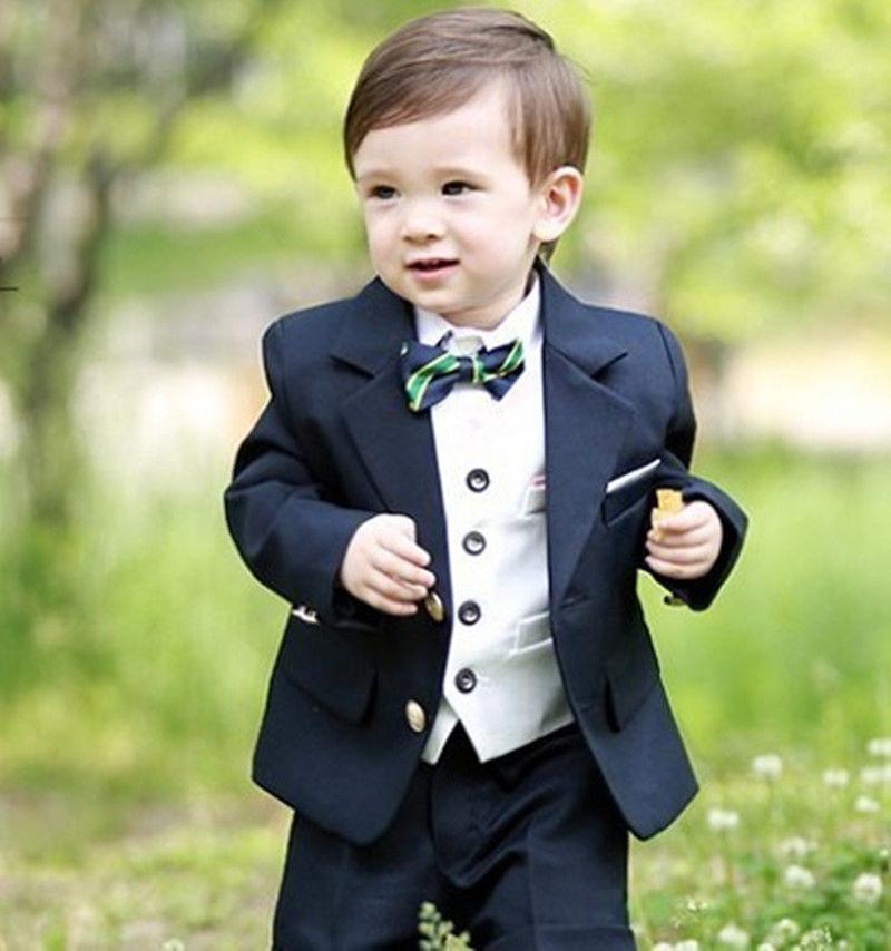Navy Blue Kid/'s 3 Piece Wedding Groom Tuxedos Flower Boys Children Party Suits