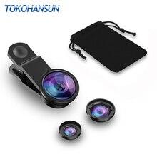 TOKOHANSUN Universal Fish Eye 3in1 Smartphone Camera Lens Wide Angle Macro Mobile Phone Lens For iPhone 7 6 8 Plus Xiaomi Lenses