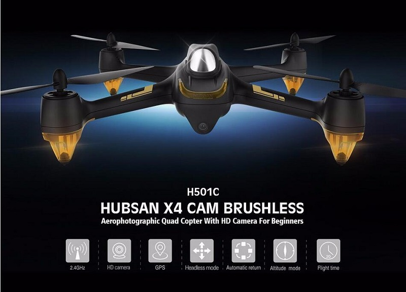 Original Hubsan X4 H501C With 1080P HD Camera Brushless Drone RC Quadcopter RTF 2.4GHz GPS Altitude Hold Mode lipo battery 7 4v 2700mah 10c 5pcs batteies with cable for charger hubsan h501s h501c x4 rc quadcopter airplane drone spare