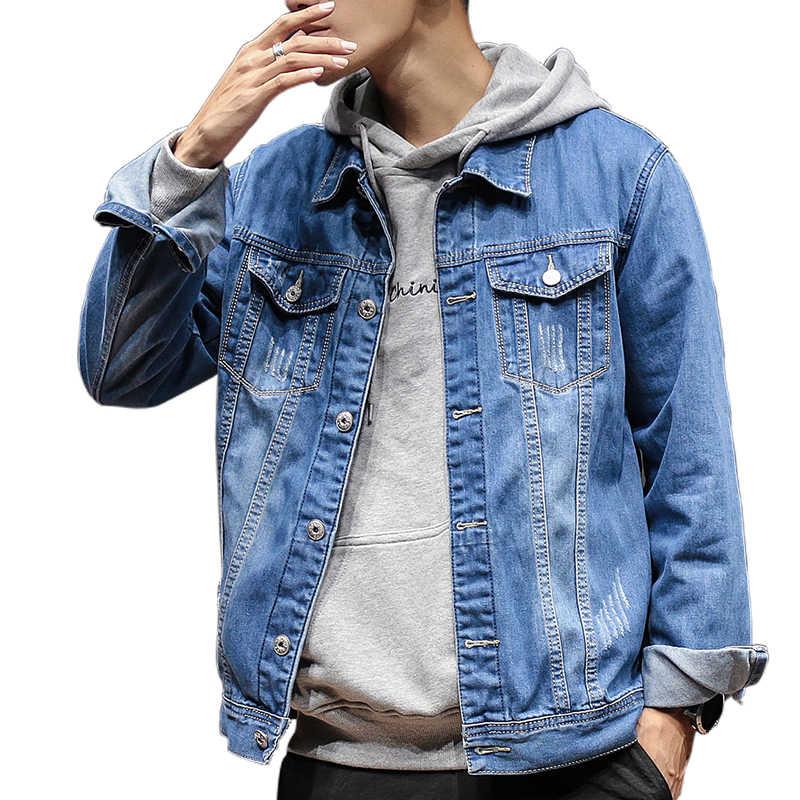 固体カジュアルスリムメンズデニムジャケットプラスサイズ 5XL ボンバージャケット男性高品質カウボーイ男性のジーンズのジャケットチャケータ hombre