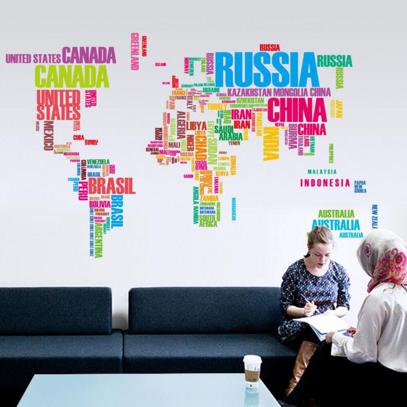 Pvc Wall Stickers Colorful Letter World Map Vinyl Art Sticker Kids Room Living Room Office Home