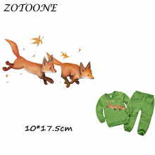 ZOTOONE Cute Warm Fox Patches Iron on Transfer for Clothing Beaded Applique Clothes DIY Animal Accessory Decoration D