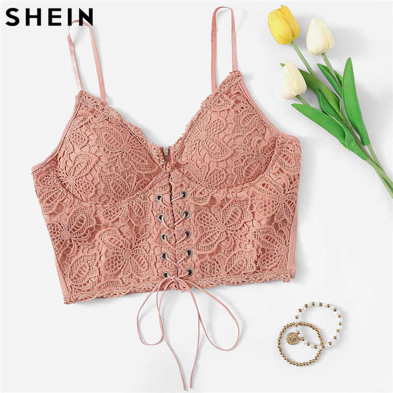 SHEIN Rosa Öse Spitze Up Zipper Zurück Stretchy Sexy Crop Top Meßhemd Wrap Solide Slim Fit Kurze Cami Top 2019 frauen Crop Top