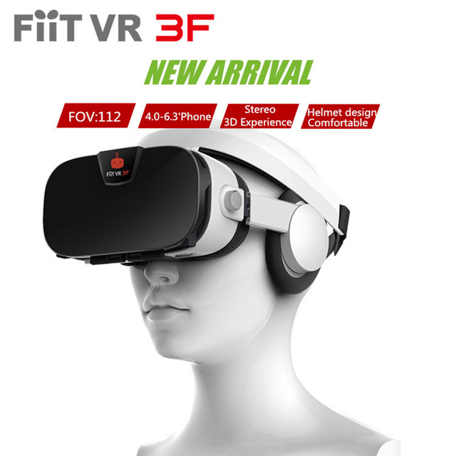 """2017 New Fiit VR 3F 3D Glasses Helmet 42mm Lens Virtual Reality Box Vr Headset Cardboard With Headphones for 4.0-6.3""""Smartphone"""