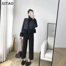 83bb2a37ba08  XITAO  Casual Frauen 2018 Winter Korea Mode drehen-unten Kragen Volle  Hülse Mantel Weibliche Casual Plaid Drucken mischung LYH2.