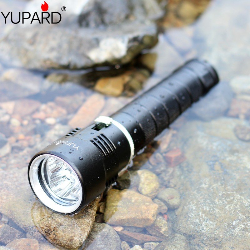 YUPARD Waterproof Underwater diving diver white light yellow light 3*T6 led Flashlight Torch Lamp cat paw style white light 2 led flashlight keychain w meow sound effect yellow pink 3 x ag10